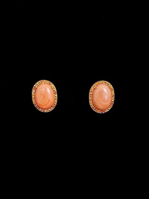 Orange Coral CZ Stud Earrings