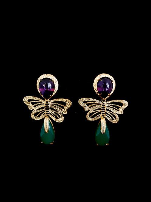 Amethyst Butterfly Green Onyx Earrings