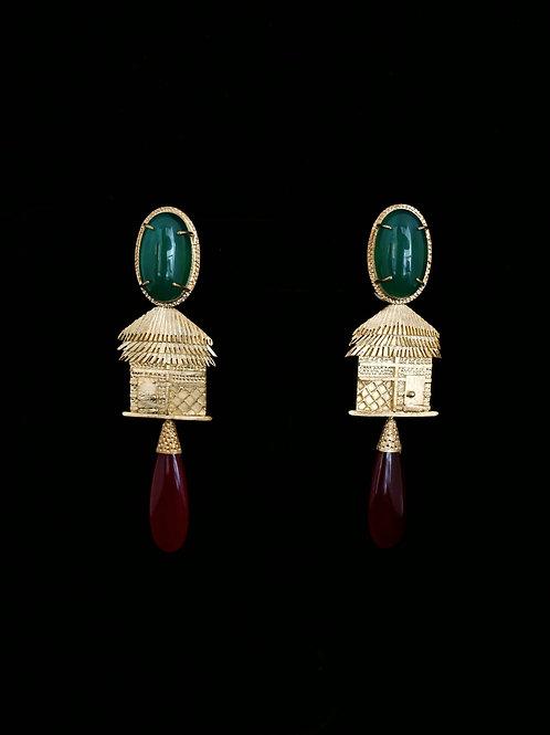 Green Onyx Nipa Hut Red Agate Earrings