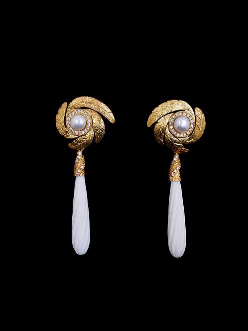 Leaf FP CZ White Agate Earrings