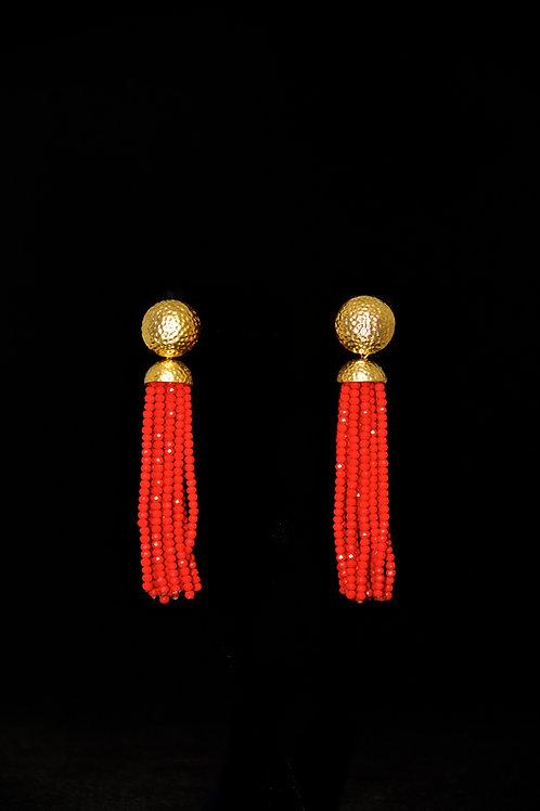 Red Gold Hammered Tassel Earrings