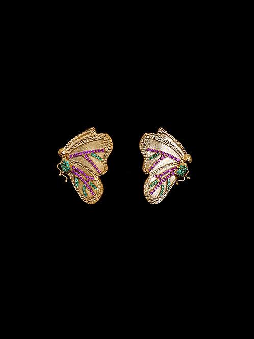 Butterfly Ruby Green Earrings