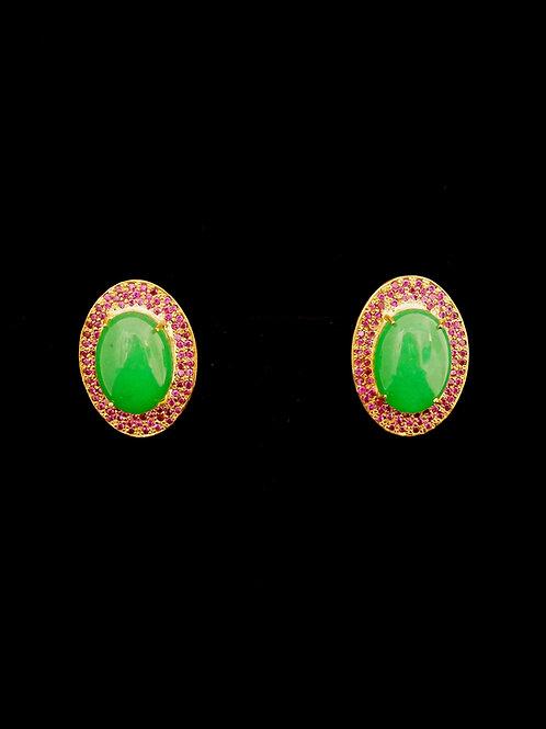 Green Quartz Ruby Garden of Eden Stud Earrings