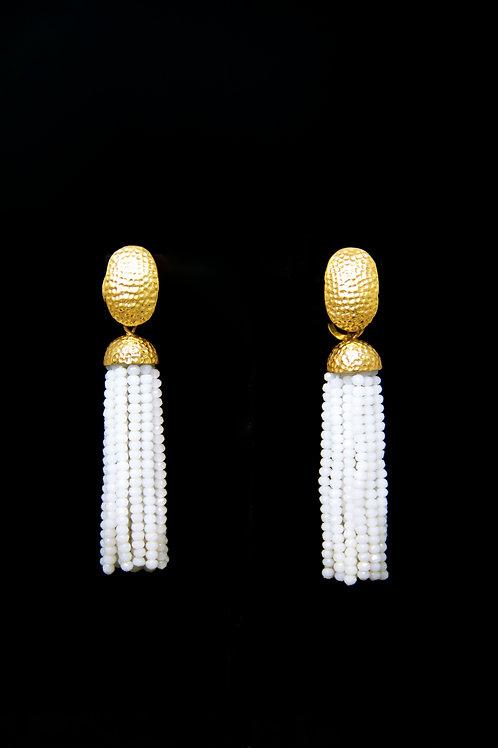 White Oval Gold Hammerred Tassel Earrings