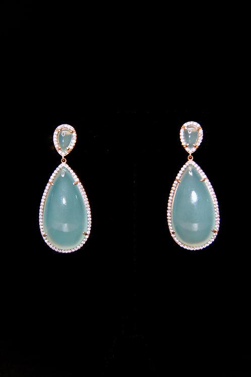 Sea green Chalcedony Rose Gold Cz drop earrings