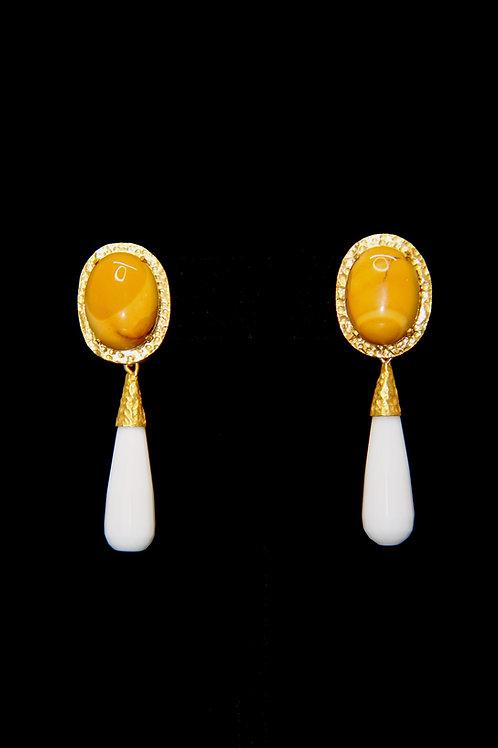 Moukaite Jasper White Onyx Earrings
