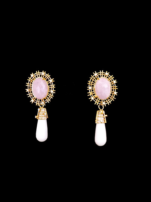 Pink Kunzite CZ White Onyx Wire Earrings