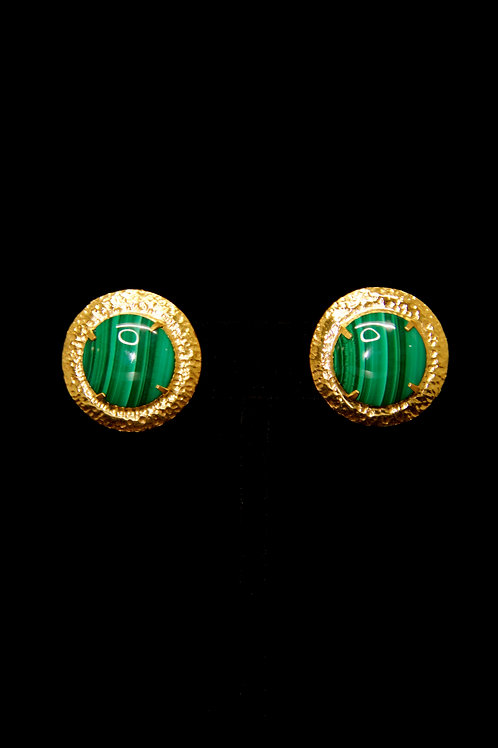 Malachite Round Gold Hammered Stud Earrings