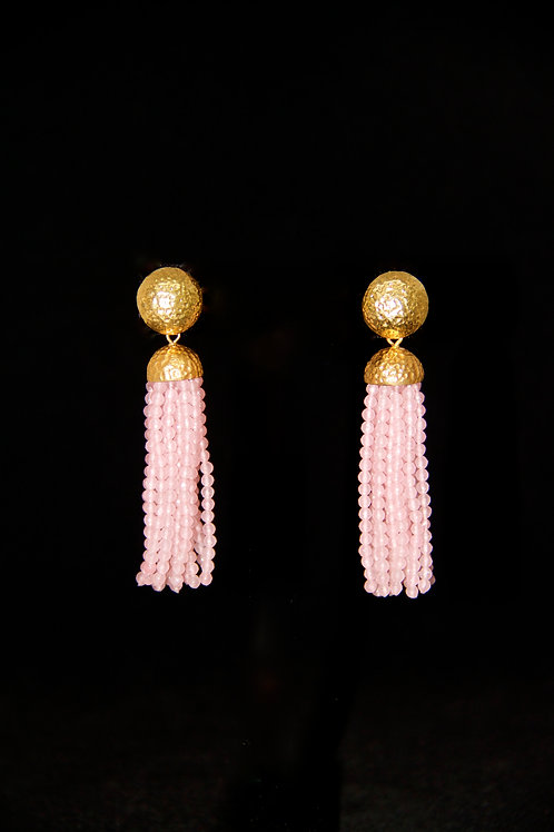 Pink Quartz Tassel Earrings