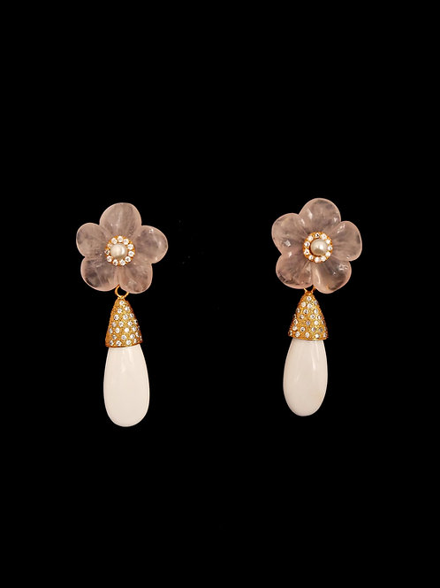 Floral Rose Quartz CZ White Agate Earrings
