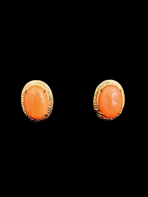 Orange Coral Gold Hammered 27mm Stud Earrings