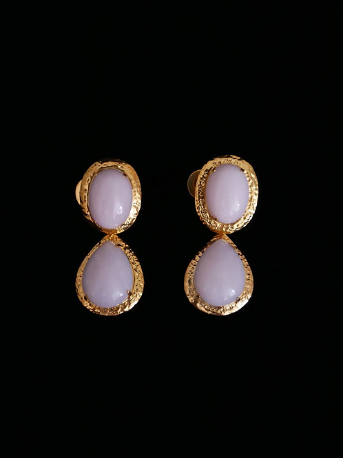 Pink Opal Gold Hammered Drop Earrings