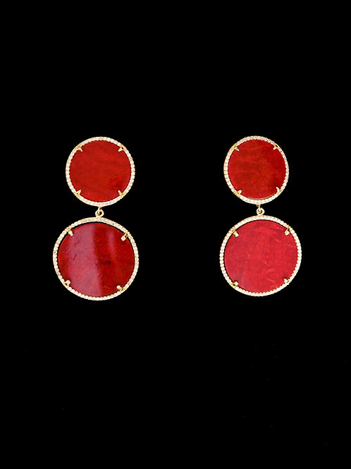 Red Coral Gold CZ Drop Earrings