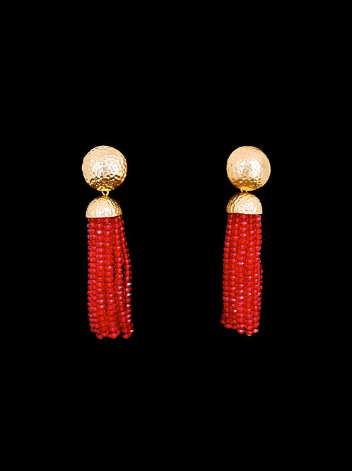 Crystal Red Gold Hammered Short Tassel Earrings