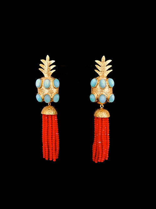 Amazonite Red Gold Hammered Pineapple Tassel Earrings