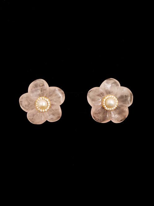 Floral Rose Quartz FP CZ Earrings