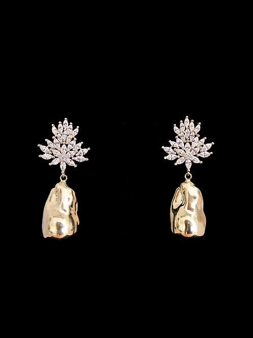 Bloom CZ Gold Nugget Earrings