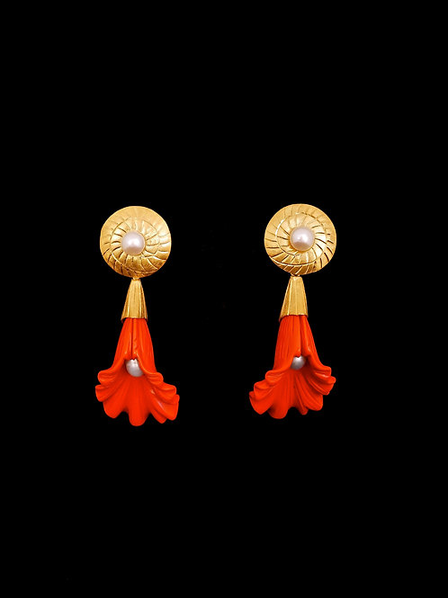 Fp Snail Orange Shell CG Earrings