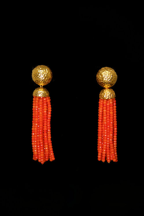 Bamboo Coral Gold Hammered Tassel Earrings