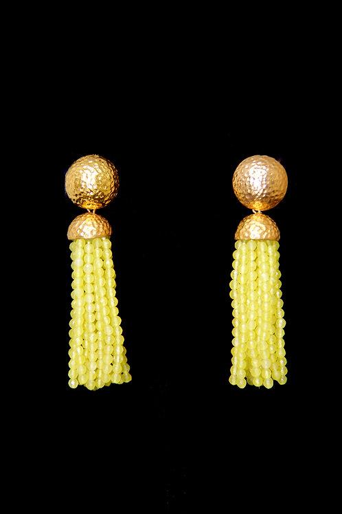 Yellow Quartz Gold Hammered Tassel Earrings