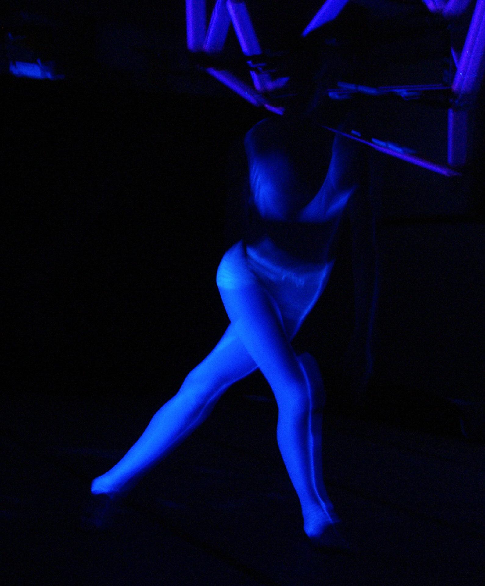 Dancing under blacklight