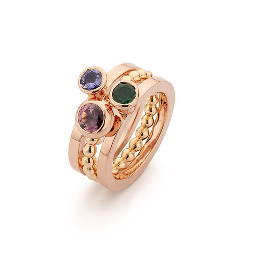 Red gold stacking rings