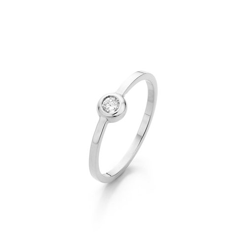 Modern white gold solitair ring with a 0,10ct. diamond TW/VS