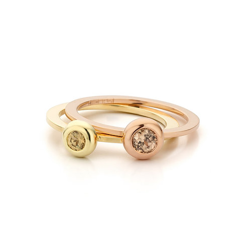 Stacking rings yellow- and red gold