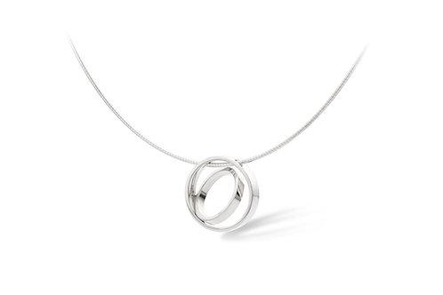 Zilveren collier met cirkel hanger