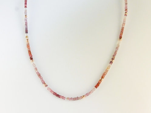 Spinel necklace with rose gold beads