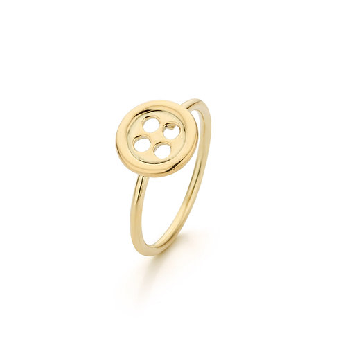 Yellow gold button ring