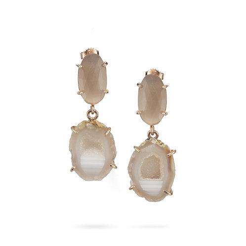 Moonstone and agate earrings