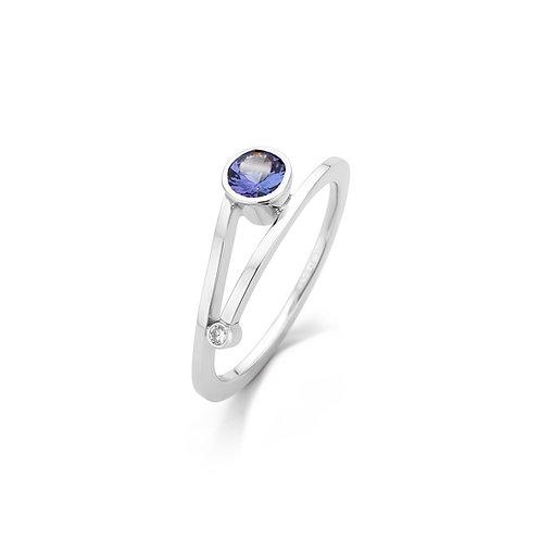 Elegante witgouden ring met tanzaniet en 0,02ct briljant geslepen diamant TW / VS