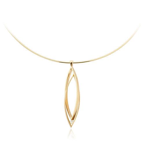 Navette pendant with 0,12ct diamond TW/VS