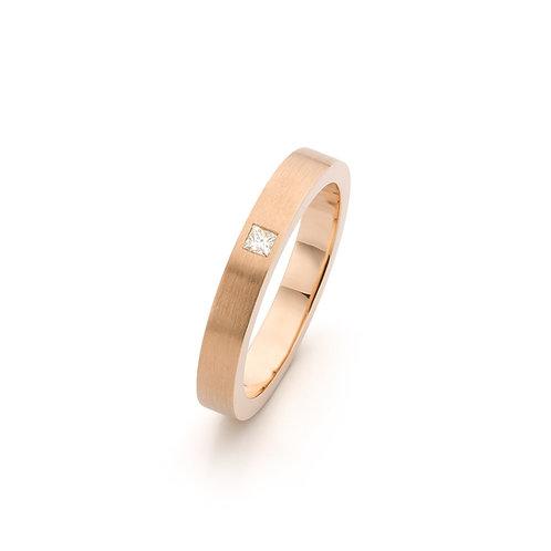 Roodgouden ring met Princess geslepen diamant 0,05 ct. TW / VS
