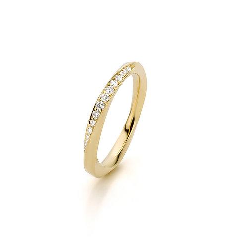 """Geelgouden """"mobius"""" ring met witte diamanten"""