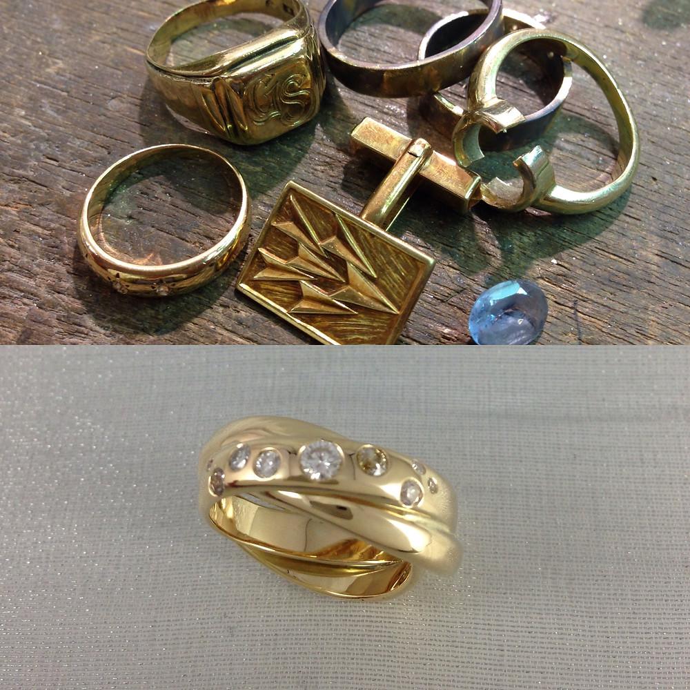 Oud familiegoud omgesmolten tot een eigentijdse ring met diamanten uit de 'oude'ringen
