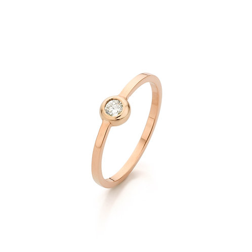 Modern red gold solitair ring with a 0,10ct. diamond TW/VS