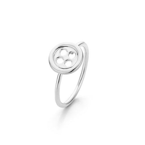 White gold button ring