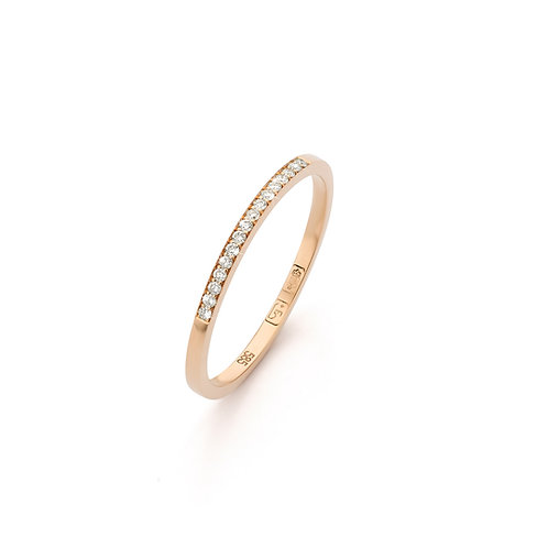 Red gold stacking ring with 0,08ct. diamonds TW/VS