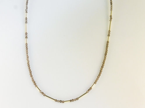 Smoky quartz necklace with yellow gold beads
