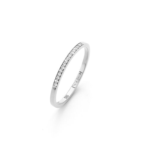 White gold stacking ring with 0,08ct. diamonds TW/VS