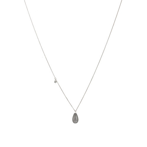 18 carat white gold moonstone and diamond necklace