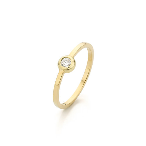Modern yellow gold solitair ring with a 0,10ct. diamond TW/VS