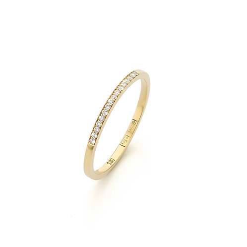 Yellow gold stacking ring with 0,08ct. diamonds TW/VS