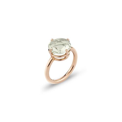 Red gold ring with prasiolite