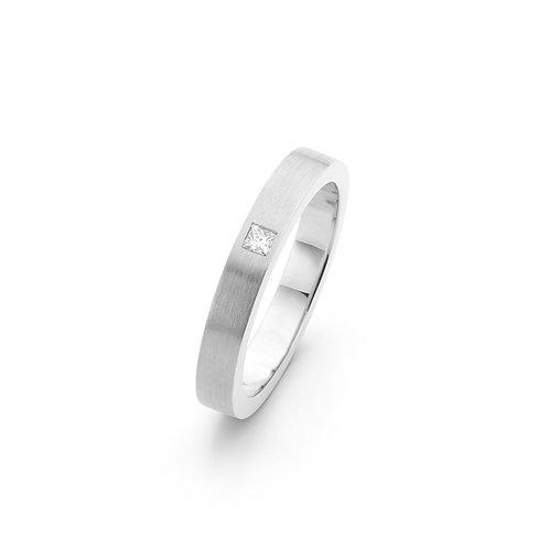 Witgouden ring met Princess geslepen diamant 0,05 ct. TW / VS
