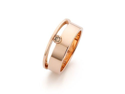 Roodgouden ring met natuurlijke cognac kleurige 0,08ct diamant