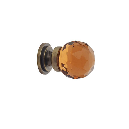 Faceted Amber Glass Ball Knobs