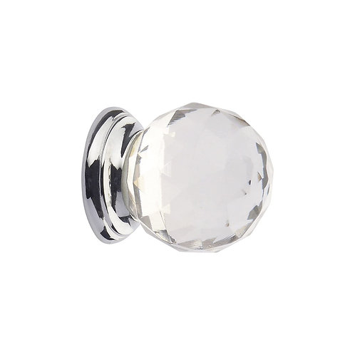 Faceted Clear Glass Ball Knob